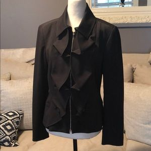 Tribal blazer jacket ruffle black
